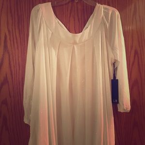 2X White sparkle blouse long sleeve